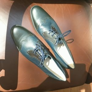 Salvatore Ferragamo Black and Blue oxfords NWT